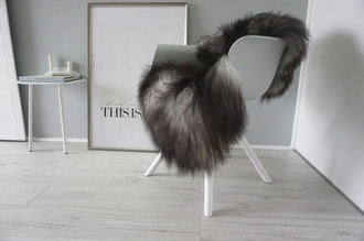 Genuine Icelandic Sheepskin Rug - Silver | Blacky brown | Grey Mix - Super Soft Touch Long Wool - SI 422