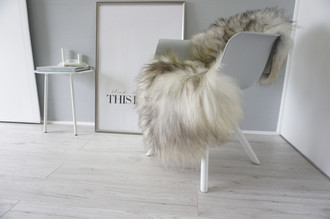 Genuine Icelandic Sheepskin Rug - Silver | Cream white | Blacky brown Mix - Super Soft Touch Long Wool - SI 426