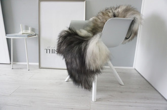 Genuine Icelandic Sheepskin Rug - Silver | Grey | Blacky brown Mix - Super Soft Touch Long Wool - SI 427
