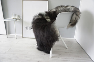 Genuine Icelandic Sheepskin Rug - Silver | Grey | Blacky brown Mix - Super Soft Touch Long Wool - SI 429