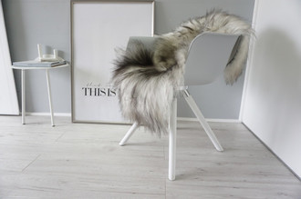Genuine Icelandic Sheepskin Rug - Cream white | Blacky brown Mix - Super Soft Touch Long Wool - SI 430
