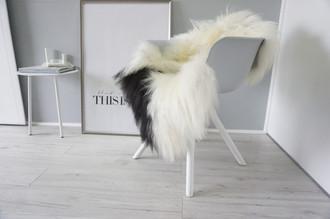 Genuine Icelandic Sheepskin Rug - Cream white | Black Mix - Super Soft Touch Long Wool - SI 432