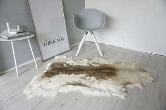 Rare Spotted Genuine Super Soft - Extra Large Scandinavian Reindeer Skin Rug  eRE 12