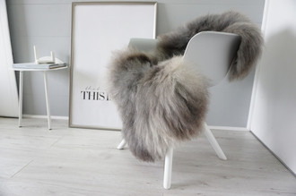 Genuine - Rare Breed Scandinavian Pelssau Sheepskin Rug - Extremely Soft Silky Wool - Silver | Grey | Ash | Brown Mix - SS 216