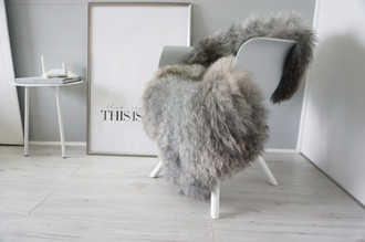 Genuine - Rare Breed Scandinavian Pelssau Sheepskin Rug - Extremely Soft Silky Wool - Silver | Grey | Ash | Brown Mix - SS 217
