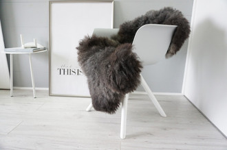 Genuine - Rare Breed Scandinavian Pelssau Sheepskin Rug - Extremely Soft Silky Wool - Silver | Grey | Ash | Brown Mix - SS 222