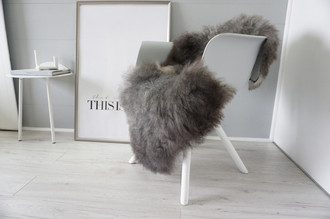 Genuine - Rare Breed Scandinavian Pelssau Sheepskin Rug - Extremely Soft Silky Wool - Silver | Grey | Ash | Brown Mix - SS 223
