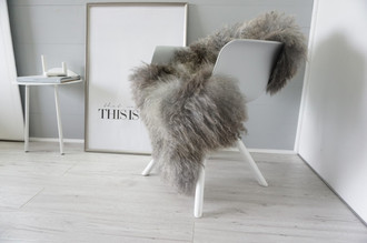 Genuine - Rare Breed Scandinavian Pelssau Sheepskin Rug - Extremely Soft Silky Wool - Silver | Grey | Ash | Brown Mix - SS 227