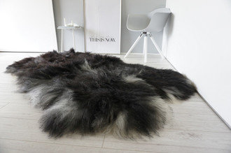 Genuine Quad (4) Icelandic Sheepskin Rug - Natural Black Brown Ash Silver Mix - Super Soft Silky Long Wool - QI 16