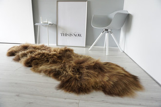 Genuine Double (2) Icelandic Sheepskin Rug - Natural Rare Rusty Brown Mix - Super Soft Silky Long Wool - DI 42