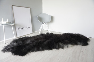 Genuine Double (2) Icelandic Sheepskin Rug - Natural Black Brown Silver Ash Mix - Super Soft Silky Long Wool - DI 43