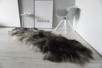 Genuine Double (2) Icelandic Sheepskin Rug - Natural Black Brown Silver Ash Latte Mix - Super Soft Silky Long Wool - DI 45