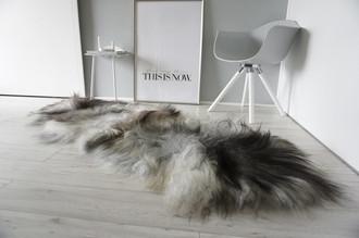Genuine Double (2) Icelandic Sheepskin Rug - Natural Black Brown Silver Grey White Mix - Super Soft Silky Long Wool - DI 49