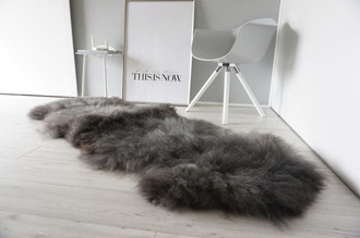 Genuine Rare Breed Scandinavian Pelssau - Double (2) Sheepskin Rug - Super Soft Silky Wool - Silver Grey Ash Mix - DS 7
