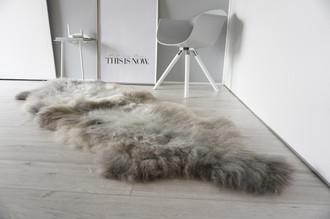 Genuine Rare Breed Scandinavian Pelssau - Double (2) Sheepskin Rug - Super Soft Silky Wool - Silver Grey Ash Latte Mix - DS 11