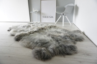 Genuine Rare Breed Scandinavian Pelssau - Quad (4) Sheepskin Rug - Super Soft Silky Wool - Silver Grey Ash Latte Mix - QS 6