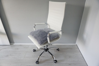 Genuine Sheepskin Seat Pad   Cushion - Grey colour - Super soft wool - Quilted base - All chair