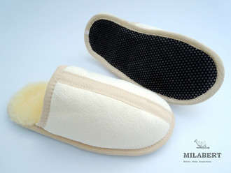 Genuine Medical Sheepskin - Mens Home Slipper / Mule – Fully Sheepskin Lined Inside - Soft Sole