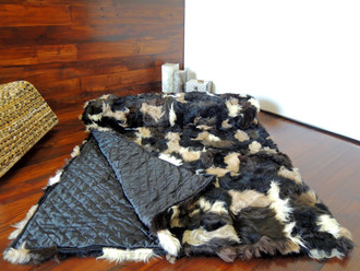 Genuine Toscana Sheepskin Blanket - Soft Dyed wool - Patchwork Style - Satin Quilted Backside - TB 2