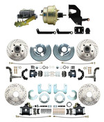 "DBK6272834LXB-MP-207 1962-72 Mopar B&E Body  Front & Rear Disc Brake Conversion Kit w/ Drilled & Slotted Rotors & Powder Coated Black Calipers ( Charger, Challenger, Coronet) w/ 8"" Dual Zinc Booster Conversion Kit w/ Left Mount Valve"