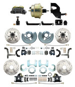 "DBK6272834LXB-MP-208 1962-72 Mopar B&E Body Front & Rear Disc Brake Conversion Kit w/ Drilled & Slotted Rotors & Powder Coated Black Calipers ( Charger, Challenger, Coronet) w/ 8"" Dual Zinc Booster Conversion Kit w/ Adjustable Valve"