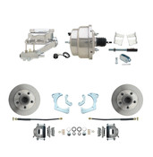 "DBK6568-GMFS3-309  - 1965-1968 GM Full Size Front Disc Brake Kit (Impala, Bel Air, Biscayne) & 8"" Dual Chrome Booster Conversion Kit w/ Flat Top Chrome Master Cylinder Left Mount Disc/ Drum Proportioning Valve Kit"
