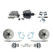"DBK6568-GMFS3-708  - 1965-1968 GM Full Size Front Disc Brake Kit (Impala, Bel Air, Biscayne) & 8"" Dual Powder Coated Black Booster Conversion Kit w/ Aluminum Master Cylinder Bottom Mount Disc/ Drum Proportioning Valve Kit"