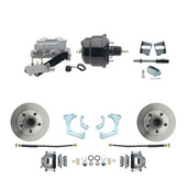 "DBK6568-GMFS3-709  - 1965-1968 GM Full Size Front Disc Brake Kit (Impala, Bel Air, Biscayne) & 8"" Dual Powder Coated Black Booster Conversion Kit w/ Aluminum Master Cylinder Left Mount Disc/ Drum Proportioning Valve Kit"