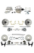"DBK59641012FS-GMFS2-331  - 1959-1964 GM Full Size Front & Rear Power Disc Brake Kit (Impala, Bel Air, Biscayne) & 8"" Dual Chrome Booster Conversion Kit w/ Chrome Master Cylinder Left Mount Disc/ Drum Proportioning Valve Kit"