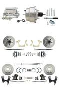 "DBK55581012FS-GMFS1-328  - 1955-1958 GM Full Size Front & Rear Power Disc Brake Kit (Impala, Bel Air, Biscayne) & 8"" Dual Chrome Booster Conversion Kit w/ Flat Top Chrome Master Cylinder Bottom Mount Disc/ Disc Proportioning Valve Kit"