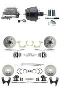 "DBK55581012FS-GMFS1-722  - 1955-1958 GM Full Size Front & Rear Power Disc Brake Kit (Impala, Bel Air, Biscayne) & 8"" Dual Powder Coated Black Booster Conversion Kit w/ Aluminum Master Cylinder Bottom Mount Disc/ Disc Proportioning Valve Kit"