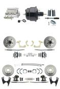 "DBK55581012FS-GMFS1-724  - 1955-1958 GM Full Size Front & Rear Power Disc Brake Kit (Impala, Bel Air, Biscayne) & 8"" Dual Powder Coated Black Booster Conversion Kit w/ Chrome Flat Top Master Cylinder Bottom Mount Disc/ Disc Proportioning Valve Kit"