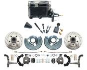 DBK6272LX-MP-110 1962-72 Mopar B & E Body Standard Manual Master Front Disc Brake Conversion Kit w/ Drilled/ Slotted Rotors
