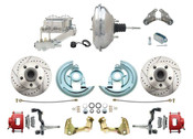 """DBK6472LXR-GM-342  - 1964-1972 GM A Body Front Power Disc Brake Conversion Kit Drilled/ Slotted Rotors Powder Coated Red Calipers w/ 11"""" Chrome Booster Kit"""