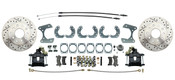 "DBK9LXB-  Ford  9"" Rear End Disc Brake Kit w/ E-brake Drilled/ Slotted Rotors & Powder Coated Black Calipers"