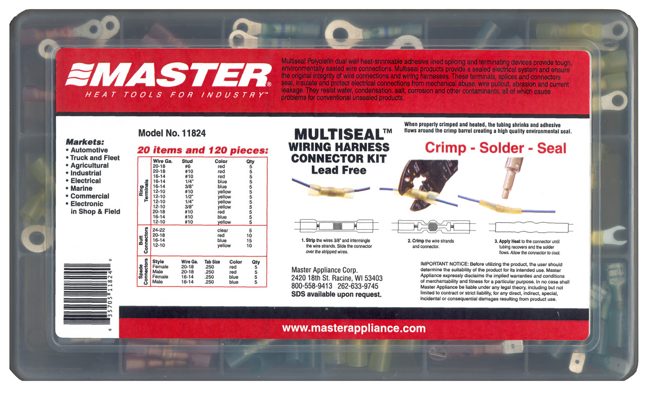 Multiseal Crimp Solder Seal Wire Connectors Master Appliance 5 Electrical Harness Assortment Kits Model 11824 Wiring Connector Kit