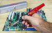 Master Appliance Ultratorch UT-100Si soldering a circuit board