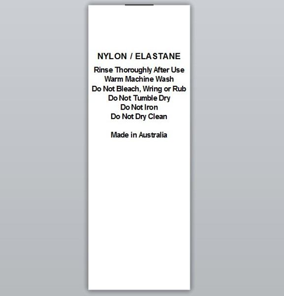 Nylon / Elastane Rinse thoroughly Clothing Labels by Ted + Toot labels
