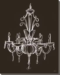 Elegant Chandelier on Black Canvas #1