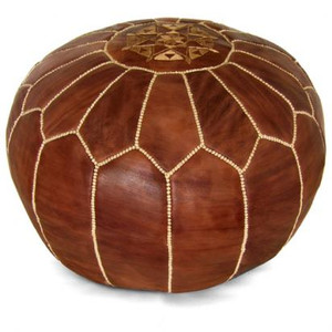 Moroccan Leather Pouf in Brown