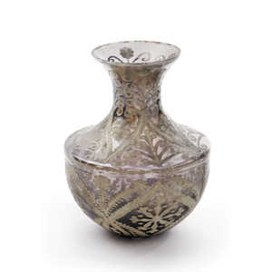 Antiqued Etched Glass French Vase