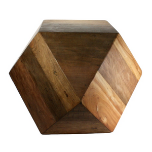 Salvaged Wood Faceted Side Table
