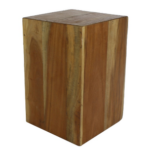 Reclaimed Wood Block Side Table - size medium