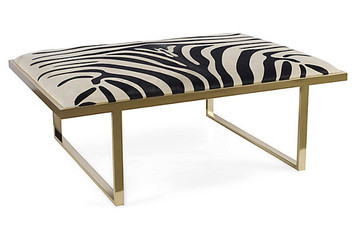 Zebra Hide Upholstered Brass Coffee Table