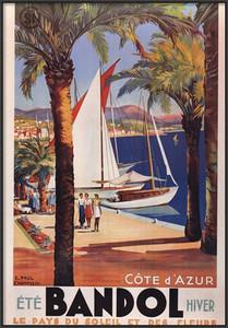 Cote d'Azur Vintage Travel Poster- Framed