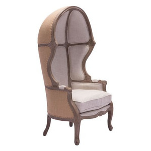 Louis Canopy Chair in Burlap and Linen Upholstery