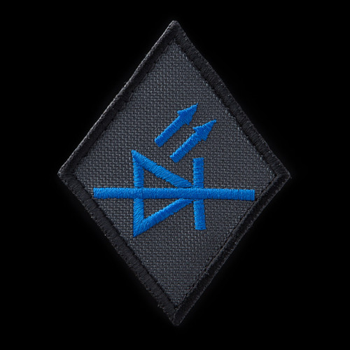 LED Specialist Patch: charcoal background, blue artwork, black border
