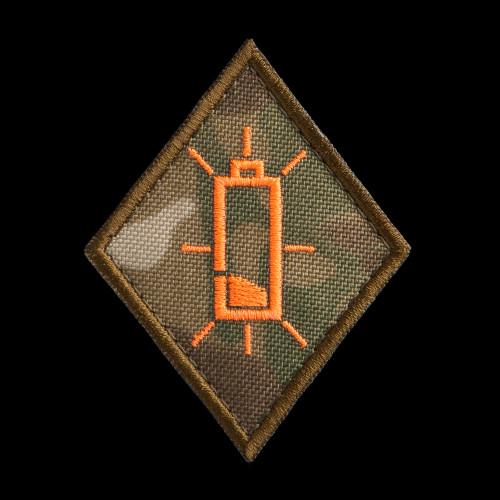 Low Battery Specialist Patch: MultiCam background, neon orange artwork, coyote brown border