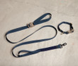 Alpha Dog Tactical collar and leash in navy with elephant grey Cobra buckles