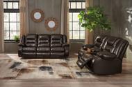 Vacherie Chocolate Reclining Sofa & Double Reclining Loveseat